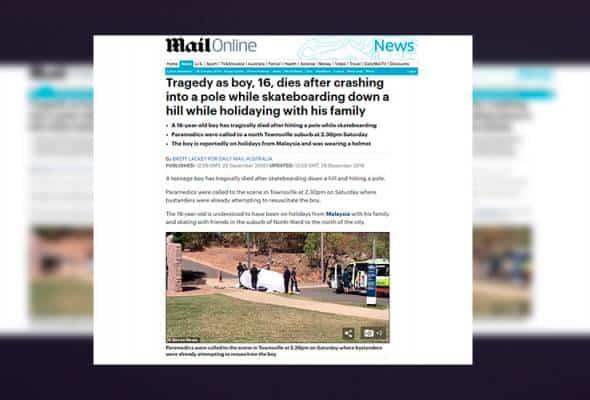Remaja Malaysia maut semasa bermain papan luncur di Australia