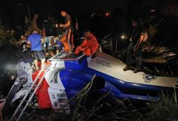 Helikopter milik PDRM terhempas di kem PGA Air Panas Tawau